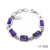 【La Jolla】蕭邦五號戀曲 純鈦鍺手鍊(紫水晶)