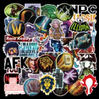 50 Pcs World of Warcraft Tribal Hero Reflective Car Sticker Decal for Water Bottles Photo Luggage Laptop Skateboard Stickers