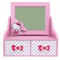 小禮堂 Hello Kitty 木製桌上型化妝鏡雙抽收納盒《粉白.點點》抽屜盒.木製櫃.置物盒