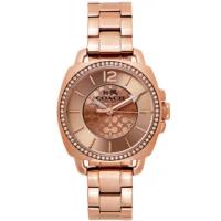 【COACH】BOYFRIEND玫瑰金x鋯石圓框滿版LOGO錶盤不鏽鋼錶帶手錶