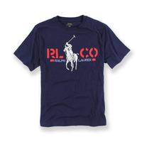 美國百分百【全新真品】Ralph Lauren T恤 RL 短袖 T-shirt Polo 大馬 印圖 深藍色XXS XS號 青年版 I102