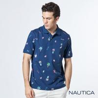 【NAUTICA】熱帶雨林印花短袖POLO衫(藍)