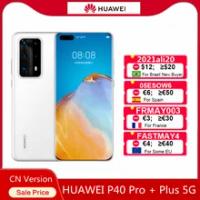 Original HUAWEI P40 Pro + Plus 5G สมาร์ทโฟน6.58นิ้ว OLED Kirin 990G Octa Core Android 10 50MP leica 10x ซูม4200MAh โทรศัพท์มือถือ Phon