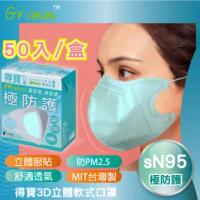 【格琳生活館】MIT得寶sN95軟式3D立體口罩(藍色-50入裝)