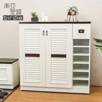 【南亞塑鋼】3.5尺二門單抽右開放塑鋼百葉鞋櫃(胡桃色+白色)