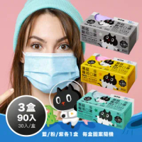 【易廷-kuroro聯名款】醫療級 醫用口罩(成人口罩 30入/盒 3盒組-藍色/粉色/紫色各1盒 卜公家族)