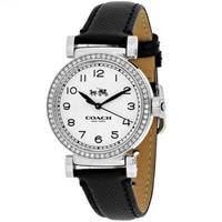 【COACH】銀X黑皮帶晶鑽皮帶數字腕錶