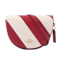 【COACH】ELLEN 拼色條紋馬鞍造型斜背包(紅色/白色)