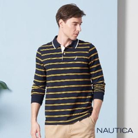 【NAUTICA】撞色雙條紋長袖POLO衫(深藍)