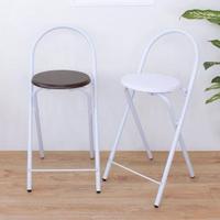 【E-Style】鋼管高背[木製椅座]折疊椅/吧台椅/高腳椅/餐椅/摺疊椅(二色可選)