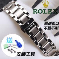 錶帶 代用勞力士名匠精鋼蝴蝶扣手表鏈男女通用 不銹鋼表帶17-20-22mm
