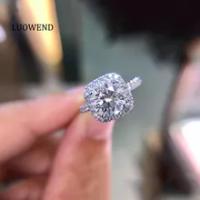LUOWEND 100% 18K สีขาว (AU750) แหวนหมั้นแหวนทอง2.00กะรัตเพชรธรรมชาติแหวนผู้หญิงหรูหราออกแบบ Halo