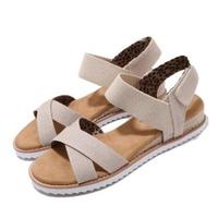 【SKECHERS】涼拖鞋 Desert Kiss 休閒鞋 女鞋 BOBS公益捐贈 避震 緩衝 輕量 米 棕(33386NAT)