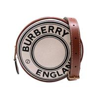 【BURBERRY 巴寶莉】Louise 帆布圓餅手拿斜背包(8027602-白)