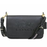 【COACH】黑色馬車壓印LOGO掀蓋式郵差包