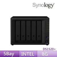 【搭希捷 8TB x2】Synology 群暉科技 DS1520+ 5Bay 網路儲存伺服器