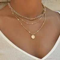Vintage สร้อยคอคอทอง Chain ผู้หญิงเครื่องประดับ Layered อุปกรณ์เสริมสำหรับสาวเสื้อผ้าความงามของขวัญแฟ...