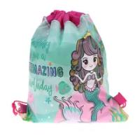 Mermaid Non-ทอกระเป๋ากระเป๋าเป้สะพายหลังเด็กกระเป๋าเดินทาง Decor Drawstring กระเป๋าของขวัญ