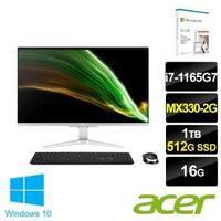【+Microsoft 365】Acer Aspire C27-1655 27型 AIO液晶電腦(i7-1165G7/16G/1T HDD+512G SSD/MX330-2G/W10)