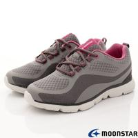 ★日本月星Moonstar機能女鞋輕量柔軟系列3E寬楦抗菌防水鞋款1607深灰(女段)