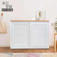 【南亞塑鋼】4.1尺百葉推門收納櫃/棉被櫃/衣櫃(白色+原木色)