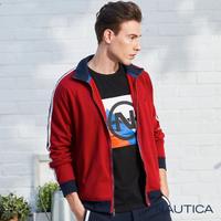 【NAUTICA】立領撞色織帶休閒保暖外套(紅色)