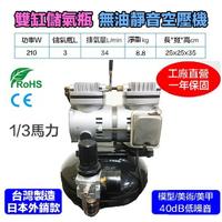 【鋼普拉】含儲氣桶+調壓濾水裝置+風管 台灣製造 T2 雙缸 1/3HP 無油靜音空壓機 鋼彈 模型 噴漆 噴槍