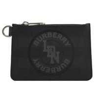 【BURBERRY 巴寶莉】London 英系格紋徽章LOGO格D型釦零錢包(黑)