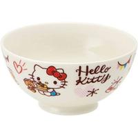 小禮堂 Hello Kitty 陶瓷碗 微波碗 兒童碗 飯碗 湯碗 250ml (白 鬆餅)