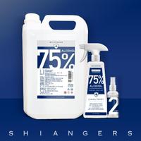 【shiangers 香爵】75%純植物酒精 食品級乙醇家用組(4L*1+500ml*1 贈90ml分裝空瓶*1)