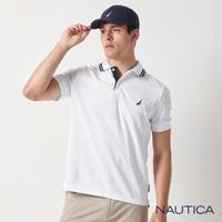 【NAUTICA】男裝 素面拼接撞色領短袖POLO衫(白色)