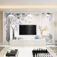電視背景墻壁紙現代簡約5d立體大氣客廳8d壁畫北歐風影視墻布家用 創意家居