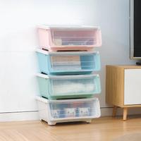 4入組 前開式斜口收納箱 中號款 可堆疊衣物收納整理盒(玩具 雜貨收納 透明前蓋)