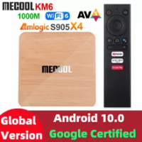 Mecool KM6 deluxe edition Amlogic S905X4 TV Box Android 10 4GB 64GB Wifi 6 Google Certified Support AV1 BT5.0 1000M Set Top Box