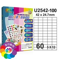 彩之舞 3合1白色標籤  5x12直角 60格無邊 100張入 / 盒 U2542-100