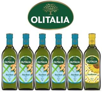 【Olitalia奧利塔】超值樂活玄米油+葵花油料理組(1000mlx 6 瓶)