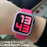 Awerul Candy TPU case for apple watch series 6 SE 5 4 3 2 1 colorful cover protector for iWatch 38 42 40 44mm Ultra-thin frame