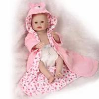 50 Cm Full Body Silikon Reborn Boneka Bayi Mainan Realistis Yang Baru Lahir Bayi Boneka dengan Anting-Anting Gadis Brinquedos Mandi Mainan