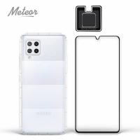【Meteor】SAMSUNG Galaxy A42 5G 手機保護超值3件組(透明空壓殼+鋼化膜+鏡頭貼)