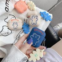 韓國ins可愛卡通呼啦圈小熊適用AirPods保護套蘋果1/2/Pro硅膠女款潮軟 時尚學院