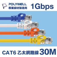 【POLYWELL】CAT6 乙太網路線 UTP 1Gbps/1000Mbps 30M(適合ADSL/MOD/Giga網路交換器/無線路由器)