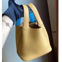 全新商品 Hermes picotin 18cm TC皮 clemence 琥珀黃拼天空藍 Y刻 現貨
