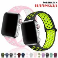 สายซิลิโคนสำหรับ Apple Watch Se 6 5 Band 44มม.40มม.อุปกรณ์เสริมกีฬาสมาร์ทสร้อยข้อมือ IWatch Watchband series 432 38มม.42มม.