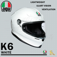 任我行騎士部品 AGV K6 極輕量化 通風 舒適 全新設計 全罩式安全帽 WHITE 白色 K-6