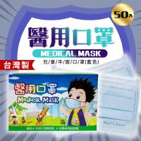 〝永猷〞醫療用口罩 (未滅菌)兒童平面藍色 50入盒裝