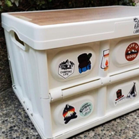 【May shop】送10張露營貼紙+56L木板折疊收納箱雜物收納箱露營可折疊塑料收納箱收納桌