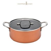 【Copper Chef】王仁甫+季芹代言 黑鑽系列-新上市 黑鑽陶瓷不沾塗層雙耳圓湯鍋24CM含蓋(IH爐/電磁爐適用)