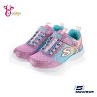 Skechers童鞋 女童運動鞋 GLIMMER KICKS 輕量 美人魚漸層 記憶鞋墊 跑步鞋 慢跑鞋 魔鬼氈 T8269#粉藍