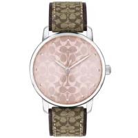 【COACH】GRAND 銀框X粉滿版LOGO錶盤咖啡織紋布皮革錶帶手錶