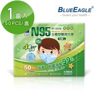 【藍鷹牌】立體型6-10歲兒童醫用口罩 50片x1盒(束帶式/藍色.綠色.粉色)
